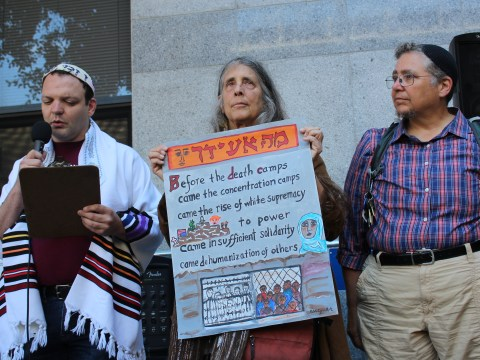 (From left) Rabbi Jeremy Sher, Rabbi Lynn Gottlieb and Rabbi Dev Noilly at a protest in front of the San Francisco ICE office, July 12, 2019 (Photo/Gabriel Greschler)