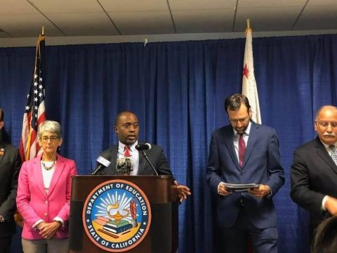State Schools Superintendent Tony Thurmond speaking to the press Aug. 14 about the state's proposed high school ethnic studies curriculum. (From left) Assemblyman Marc Berman, Senator Hannah-Beth Jackson, Thurmond, Senator Ben Allen, Assemblyman Jose Medina (Photo/Facebook-Abby Porth)