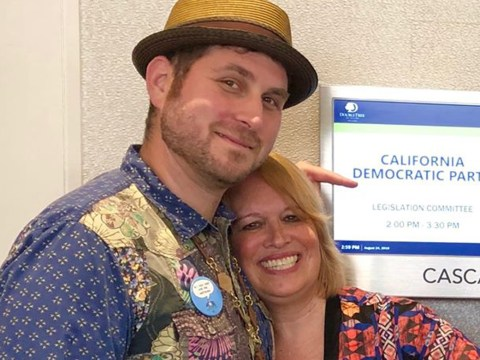 Matthew Finkelstein and Susan George of Progressive Zionists of California at the California Democratic party executive board meeting in San Jose, Aug. 24 (Photo/Courtesy PZC)
