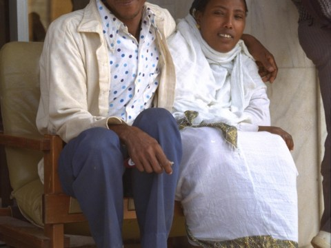 An Ethiopian Jewish couple at a temporary absorption center in Jerusalem's Diplomat Hotel, after being airlifted to Israel in 1991's Operation Solomon.