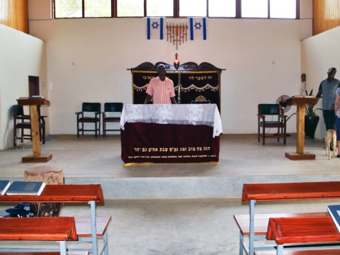 The interior of an Abayudaya synagogue (Photo/Fred Greene)