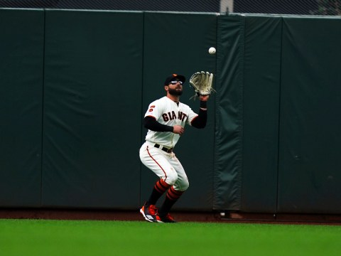 Kevin Pillar, shown making a catch in the outfield during a May 15 game against the Toronto Bluejays, is on pace for career highs in RBIs and home runs this season. (Photo/©2019 S.F. Giants)