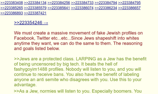 Screenshot from a post on the 4chan forum calling for creation of fake Twitter accounts impersonating Jews
