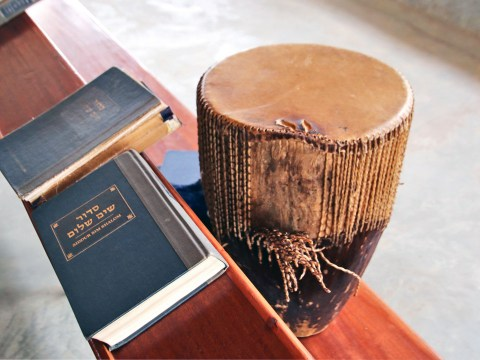 A siddur and drum in an Abayudaya synagogue (Photo/Fred Greene)
