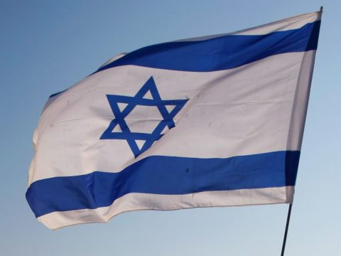 An Israeli flag waving in the wind