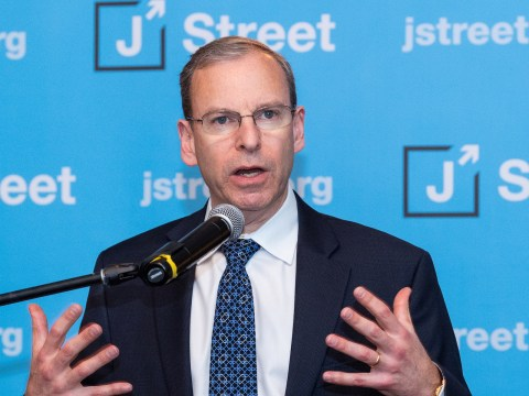 Jeremy Ben-Ami, president of J Street, speaking at the J Street National Conference in 2018 (Photo/JTA-Michael Brochstein-SOPA Images-LightRocket via Getty Images)