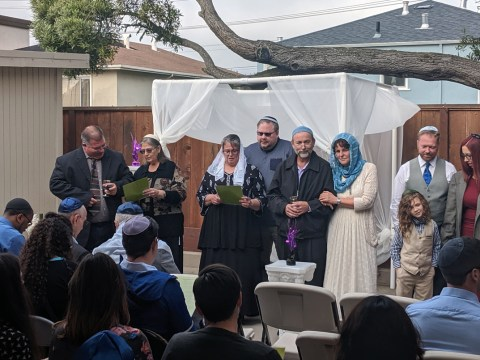 Four couples converted to Judaism in the Karaite tradition at the Karaite Convention in Daly City, August 30, 2019. (Photo/David A.M. Wilensky)