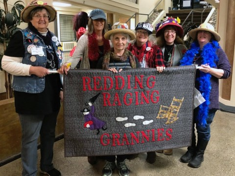 "Quilt-maker Diane Dobbins (center) and Geri Copitch (second from right) with their ""gaggle"" in Redding. (Photo/Courtesy Geri Copitch)"