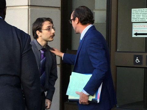 Ross Farca speaking with his attorney Joseph Tully outside Contra Costa Superior Court, Sept. 26, 2019. (Photo/Gabe Stutman)