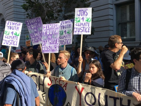 Members of Jewish Youth for Climate Justice at the Sept. 20, 2019, climate protest in San Francisco (Photo/Gabe Stutman)