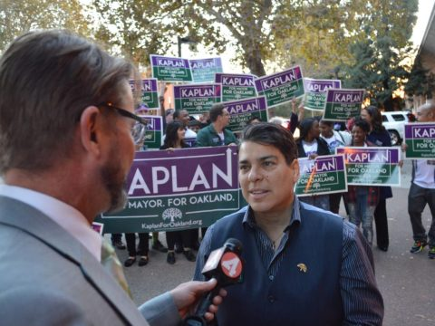 Rebecca Kaplan being interviewed by local media during her 2014 run for Oakland mayor (Photo/Rebecca Kaplan-Facebook)
