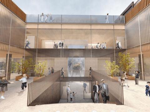 A preliminary rendering of a view of the Lake Street entrance of Congregation Emanu-El in San Francisco from inside the remodeled courtyard. /Rendering courtesy of Mark Cavagnero Associates