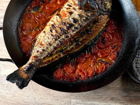 Fish in a tomato base (Photo/Courtesy Avner Laskin)