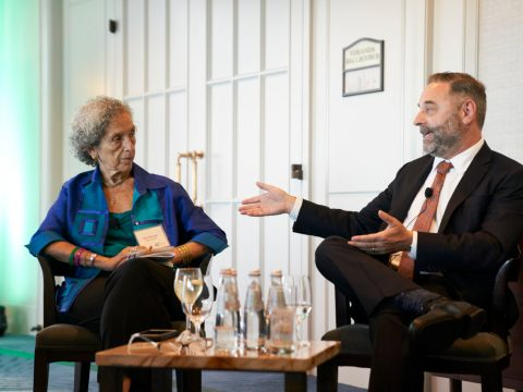 New Israel Fund CEO Daniel Sokatch in conversation with Ruth Messinger (Photo/New Israel Fund-Flickr)