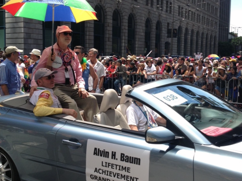 Al Baum as S.F. Pride Parade grand marshall in 2013. (Photo/Lisa Finkelstein)