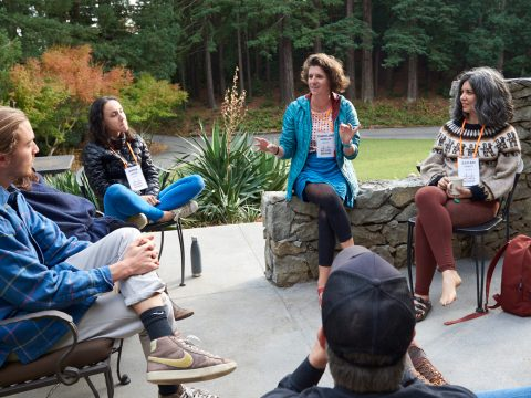 Writer Caroline Kessler (center) leads a session on DIY zines at the Asylum Arts retreat in Mill Valley, Nov. 11-14. (Stefan Cohen)
