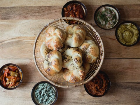 Aliza Gravevsky Somekh's Challah rolls and spreads. (Sarah M. Park & Selina S. Lee-EatWith)