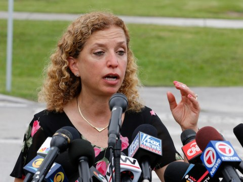Rep. Debbie Wasserman Schultz, D-Floriday, speaks after she was denied access to the Homestead Temporary Shelter For Unaccompanied Children in Homestead, Florida, June 19, 2018. (JTA/Joe Skipper/Getty Images)