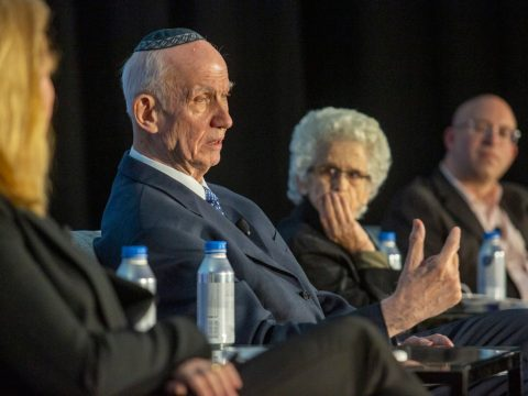 (From left) Rabbi Yitz Greenberg, Professor Ruth Gavison and Yehuda Kurtzer discuss the Israel-diaspora relationship at Z3. (Courtesy Z3)