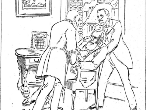 The death of W.W. Stow, as illustrated by the San Francisco Chronicle in 1895.