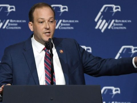 Rep. Lee Zeldin speaks at the Republican Jewish Coalition's annual leadership meeting at The Venetian Las Vegas ahead of an appearance by President Donald Trump, April 6, 2019. (JTA/Ethan Miller/Getty Images)