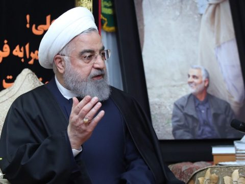 Iranian President Hassan Rouhani meeting with Soleimani's family in Tehran, Jan. 4, 2020. He has warned that Iran would take violent action in response to the killing. (JTA/Iranian Presidency/Handout/Anadolu Agency via Getty Images)
