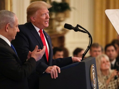 President Donald Trump speaks at a White House news conference with Israeli Prime Minister Benjamin Netanyahu, Jan. 28, 2020. (JTA/Alex Wong/Getty Images)