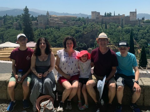 (From left) Aviv Shifrin, Debra Schifrin, Abby Friedman, Elia Shifrin, Dan Schifrin and Lior Schifrin overlooking the Alhambra in Grenada.