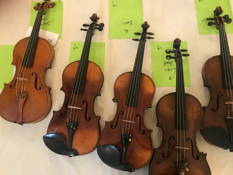 "Some of the violins that have come to the Bay Area as part of ""Violins of Hope."" (Laura Paull)"