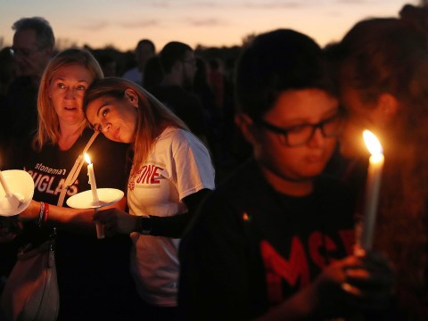 A memorial service on the one-year anniversary of the Marjorie Stoneman Douglas High School shooting in Parkland, Fla., Feb. 14, 2019. (JTA/Joe Raedle/Getty Images)