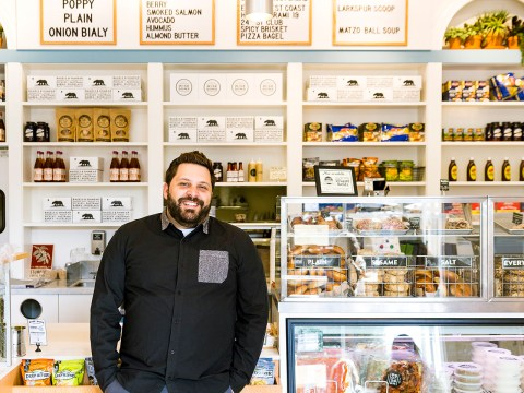 Wise Sons Jewish Delicatessen co-founder Evan Bloom at Wise Sons' bagel shop in the Marin Country Mart in Larkspur. (Maren Caruso)