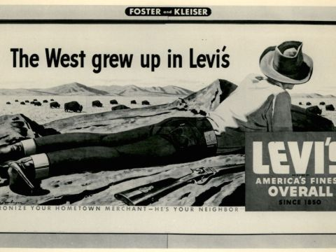"""The West Grew Up in Levi's"" billboard, 1955. (Levi Strauss & Co. Archives)"