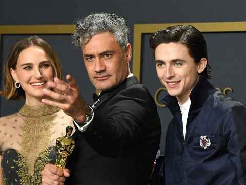 Jewish stars Natalie Portman, Taika Waititi and Timothée Chalamet pose in the press room during the 92nd Annual Academy Awards (Photo/JTA-Steve Granitz-WireImage)