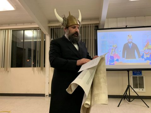 Rabbi Yisroel Hecht of Chabad of Sunnyvale leading Purim services, March 9, 2020.