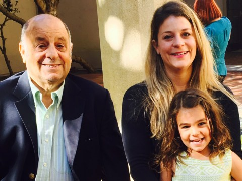 Sophi Jacobs with her daughter and father, James.