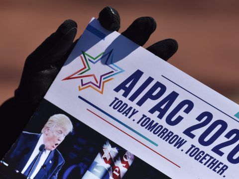 Outside the AIPAC annual conference in Washington, DC on March, 01, 2020. (Photo/JTA-Marvin Joseph-Washington Post via Getty)