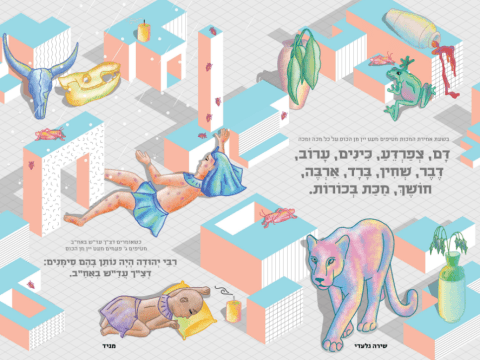 The two-page spread with the 10 plagues in the 2020 Asufa haggadah.