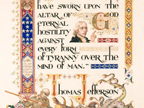"""Thomas Jefferson's Oath,"" 1951 (ARTHUR SZYK/COURTESY THE MAGNES COLLECTION)"