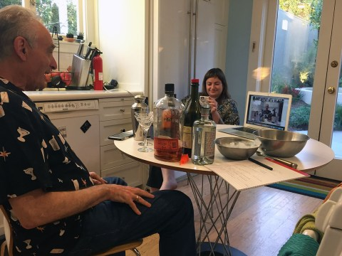 Sam Schuchat, former president of Temple Sinai in Oakland, taught an online class for Sinai members on how to mix a great Manhattan, March 19. (COURTESY SCHUCHAT)