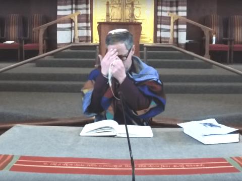 Rabbi Mark Bloom leads online service at Temple Beth Abraham.
