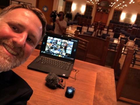 Rabbi Yonatan Cohen of Congregation Beth Israel prepares to go online. (COURETSY CBI)