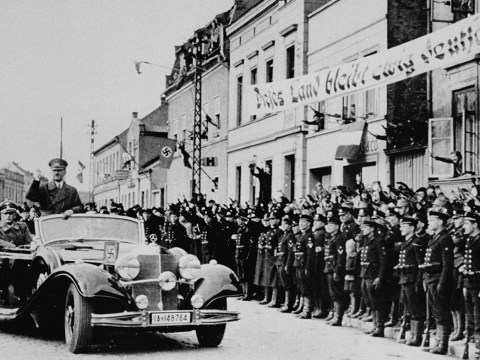 Hitler enters Memel, Lithuania, in March 1939 following the German annexation. (Photo/U.S. Holocaust Memorial Museum-National Archives and Records Administration-College Park)