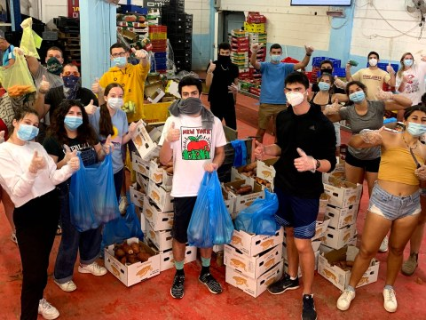 Year Course students this spring wear masks while volunteering. (Photo/JTA-Courtesy Year Course)