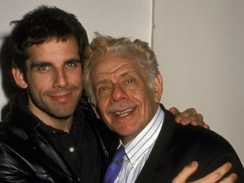 "Jerry Stiller with his son Ben at a party for the play ""What's Wrong With This Picture"" in New York City in 1994. (Photo/JTA-Ron Galella-Ron Galella Collection via Getty Images)"