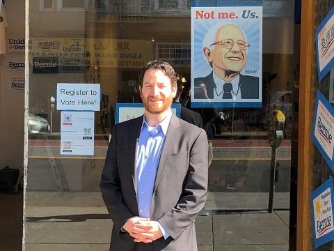 Joel Rubin in front of the Bernie Sanders campaign's San Francisco office, Feb. 2020. (Photo/Gabe Stutman)