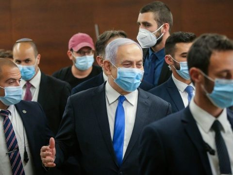 Prime Minister Benjamin Netanyahu in the halls of the Knesset after the swearing-in of the new government on May 17, 2020. (Photo/JTA-Alex Kolomoisky-Pool)