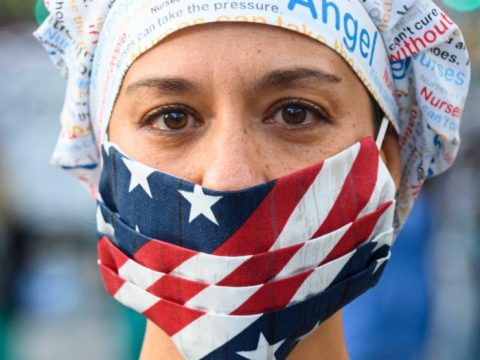 A healthcare worker wearing a mask. (Photo/JTA-Noam Galai-Getty Images)