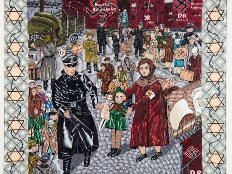 "Trudie Strobel's ""Russia 1942"" depicts the moment in her life when an SS officer confiscated her doll en route to a labor camp."