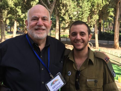 Arthur Slepian (left) with Ofer Erez, the first openly transgender officer in the IDF (Photo/Courtesy Slepian)
