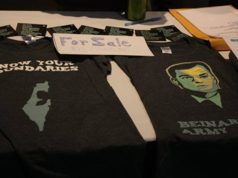 """J Street U """"Beinart's Army"""" tshirts for sale at the 2011 J Street Conference in Washington, D.C., back when Beinart was a hero to young liberal Zionists for his forceful defense of the two-state solution. (Photo/David A.M. Wilensky)"""